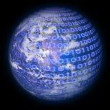 二进制代码地球行星 库存照片