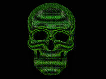 二进制代码概要头骨 免版税库存图片