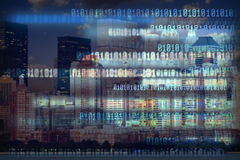 二进制城市数字式晚上隧道 免版税图库摄影