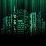 二进制城市数字式晚上隧道 免版税库存图片