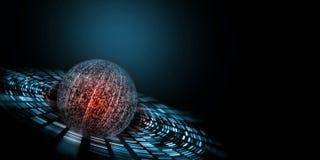 二进制技术概念 从数字数字创造的球形用发光的红色在中心 免版税库存照片