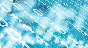 二进制数字被窃取的计算机数据,网络攻击威胁 向量例证