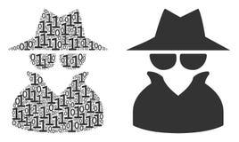 二进制数字间谍拼贴画  库存例证