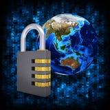 二进制编码和地球与号码锁 免版税库存照片