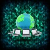 二进制编码和地球与膝上型计算机 库存图片