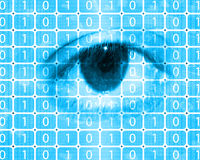 二进制编码和眼睛 库存图片