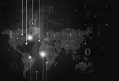 二进制编码地图黑暗背景 免版税库存图片