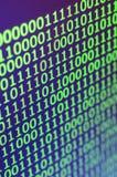 二进制编码宏观射击在办公计算机的显示器的 程序员` s工作的概念 数字式informa流程  免版税库存照片