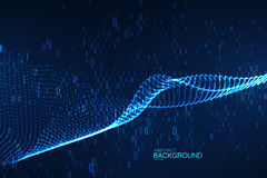 二进制编码微粒抽象真正数字式波浪  免版税库存照片