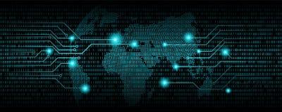 二进制编码摘要背景和世界地图 communic的数字式 免版税图库摄影