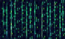 二进制编码计算机矩阵背景艺术设计 在屏幕上的数字 摘要概念图形数据,技术,解密, 库存例证