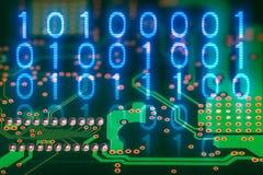 二进制编码 电路板后部 数字电子背景 免版税图库摄影