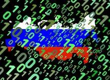二进制联邦标志映射俄语 免版税库存照片