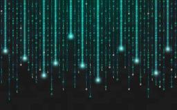 二进制背景 与光的连续明亮的代码 在黑暗的背景的落的数字 黑客概念 抽象发光 向量例证
