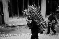 二重奏亦舒村庄,原阳,云南,中国-中国妇女运回在她的分支 库存照片