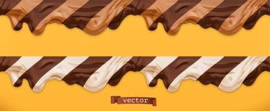二重奏巧克力传播 焦糖流程 背景黄油下落油花生风格化白色 无缝的样式3d传染媒介 库存例证
