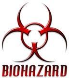 二面对切的biohazard红色符号 图库摄影