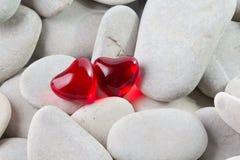 二颗心形的浴珍珠 免版税图库摄影