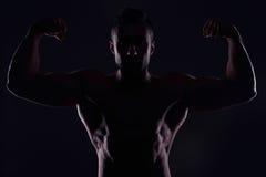 二头肌他的人肌肉陈列 免版税图库摄影