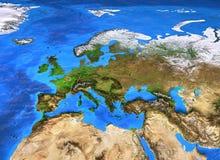 于欧洲集中的高分辨率世界地图 免版税库存照片