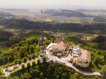于特利贝格山鸟瞰图在瑞士苏黎士 库存图片