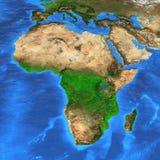 于非洲集中的高分辨率世界地图 免版税库存照片