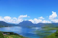 云南丽江泸沽湖Daloshui风景 免版税库存照片