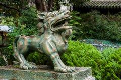 云南大理龙城市古铜狮子 图库摄影
