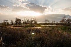 云南,中国大理美好的洱海日落 免版税图库摄影