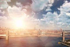 阴云密布看法的综合图象反对蓝天的 免版税图库摄影