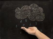 云彩、雨和手 免版税库存图片