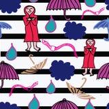 云彩、雨蚯蚓和被打开的伞在雨中 平的样式例证 库存例证