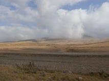 云彩下降对黄色领域 免版税库存图片