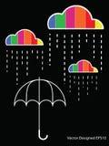 云彩五颜六色的下落雨伞 皇族释放例证