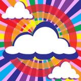 云彩和光芒太阳圈子 免版税库存照片