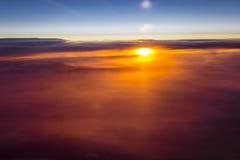 云彩和太阳在欧洲天空  免版税库存图片