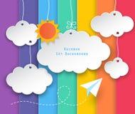 云彩和彩虹天空背景 免版税库存照片