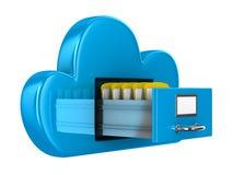 云彩和文件夹在白色背景 免版税库存照片