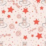 云彩和星孩子无缝的样式设计 库存例证