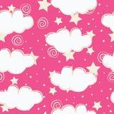 云彩和星孩子无缝的样式设计 皇族释放例证