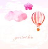 云彩和桃红色气球 向量例证