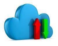 云彩和箭头在白色背景 免版税库存照片