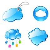 云彩图标标签 免版税图库摄影