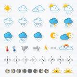 云彩图标雨星期日天气 免版税库存图片