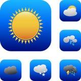 云彩图标雨星期日天气 免版税图库摄影