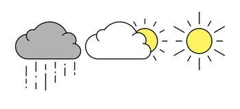 云彩图标雨星期日天气 向量例证