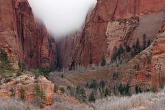 云彩在峡谷宰恩国家公园 库存图片