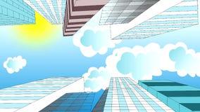 云彩在摩天大楼的天空,动画飞行, 向量例证