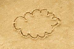 云彩在沙子的形状图画 库存图片