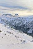 云彩在Kasprowy Wierch在扎科帕内在Tatra在冬天登上 库存照片